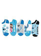 Disney Lilo & Stitch Blue No-Show Socks 5 Pair,