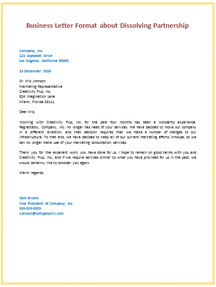 Nice 6th Business Letter Format About Dissolving Partnership