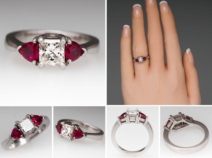 Princess Cut Diamond Engagement Ring W Ruby Accents Platinum