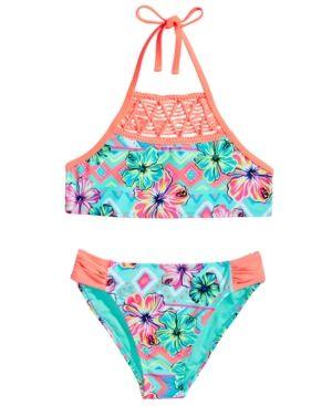 cde48993ea Breaking Waves 2-Pc. Floral-Print Bikini Swimsuit, Big Girls (7-16) - Green  14