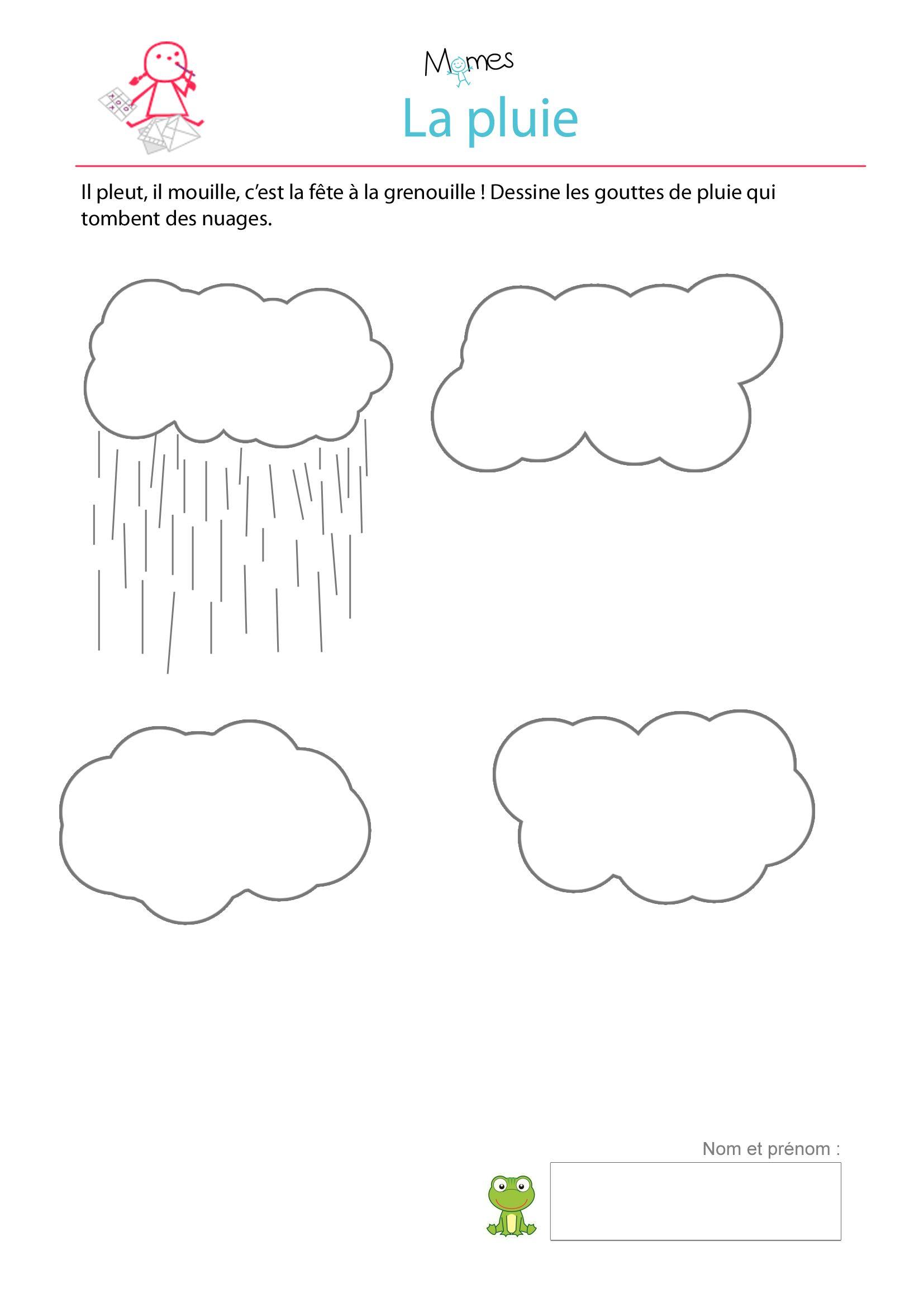 Dessine la pluie - exercice à imprimer | Exercice petite ...