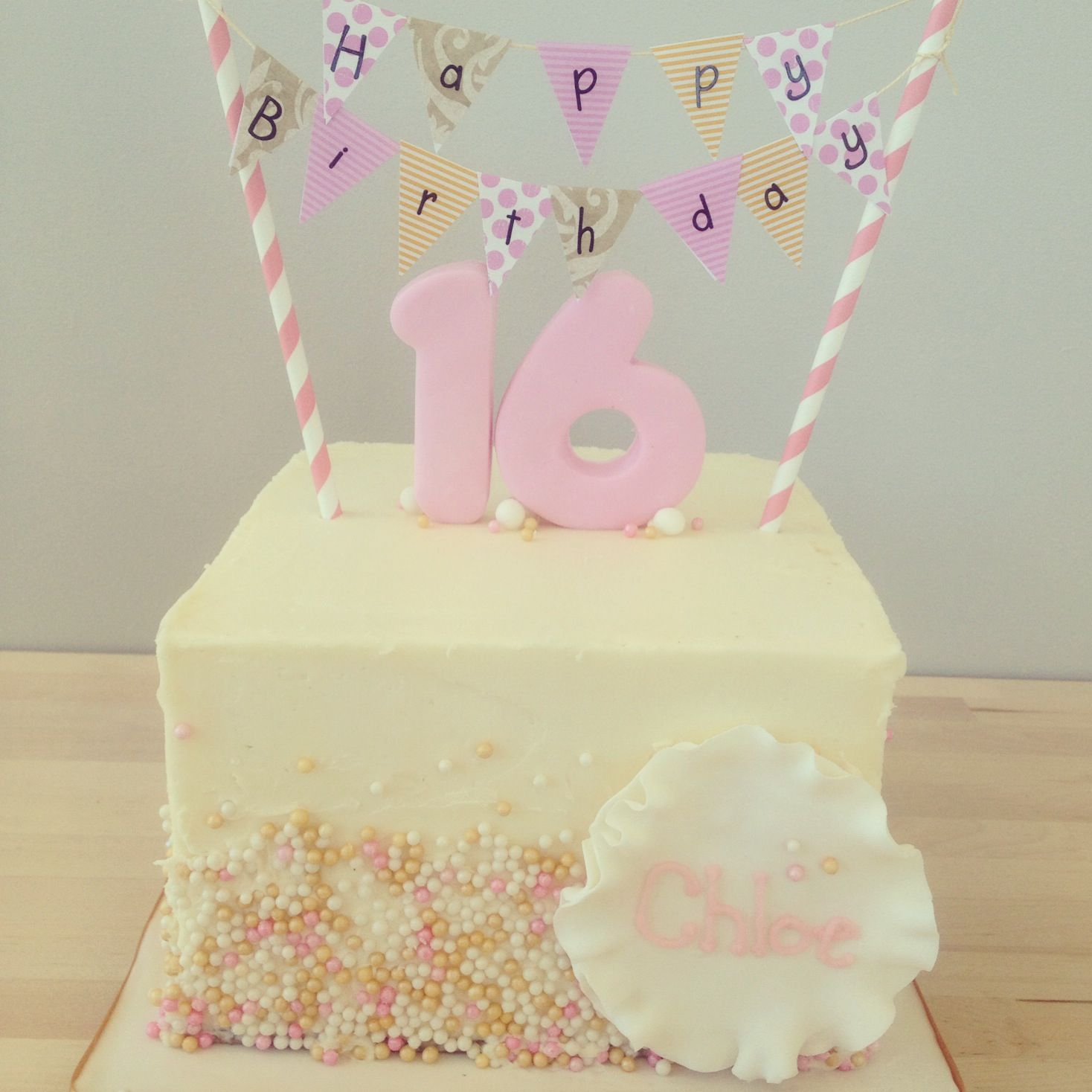 Sweet 16 birthday cake SO cute Melanie Bauer Belveal either of