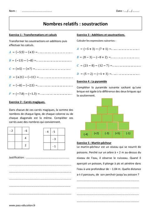 Nombres Relatifs Soustraction 5eme Exercices A Imprimer Maths 5eme Soustraction Problemes Mathematiques