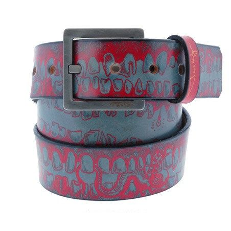 Teeth Blue and Red Leather Belt for Men and Women by JonWye, $65.00