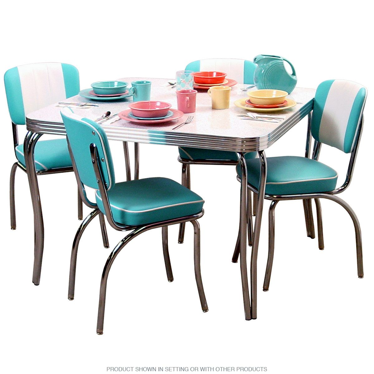 Dinette Set Come Complete With 4 Channel Back Chairs And A Square Formica Top Table Quality Style This Commercial Grade 50s Dining