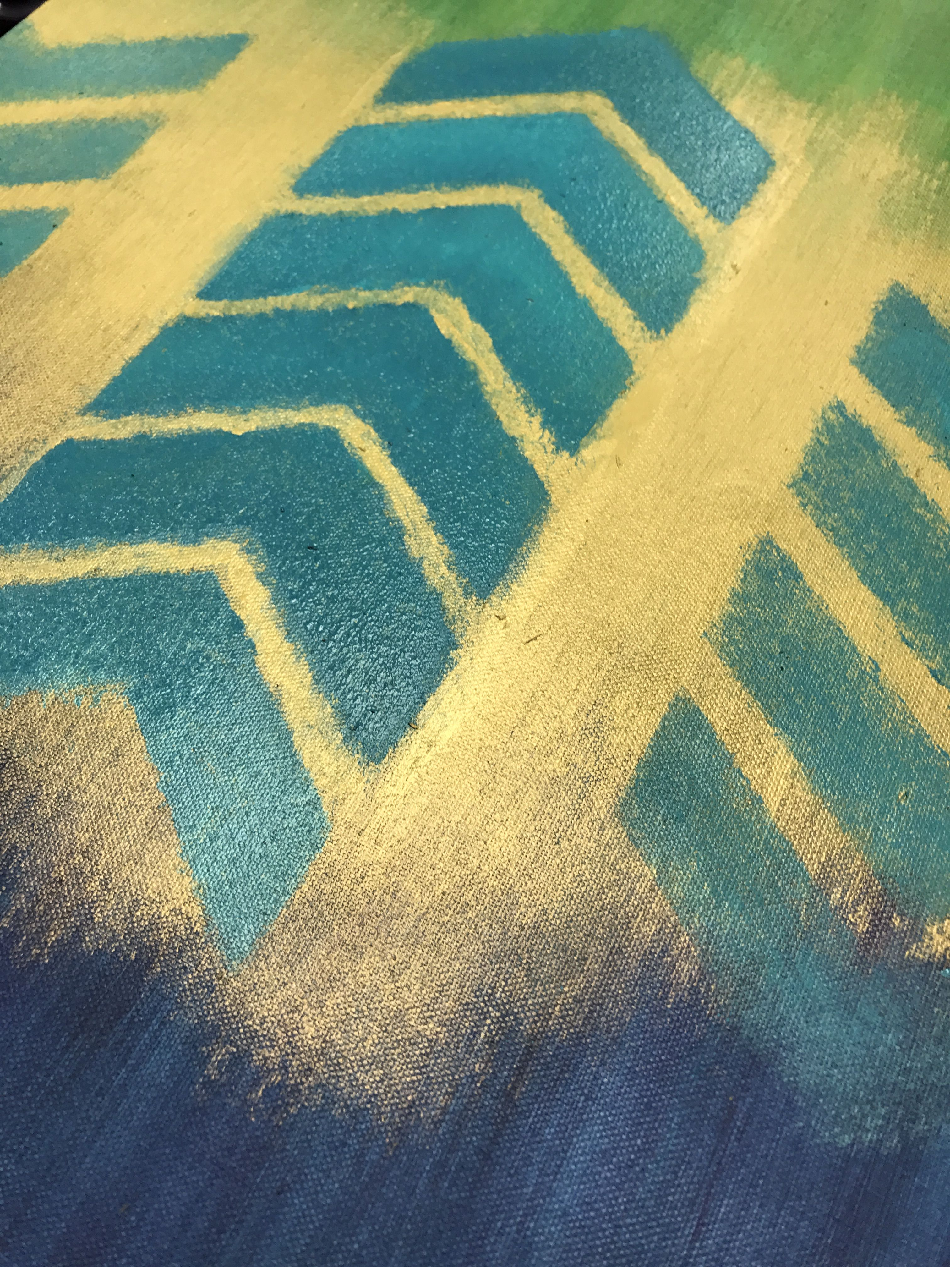 DIY Chevron / Herringbone wall art canvas in navy, teal, green ...