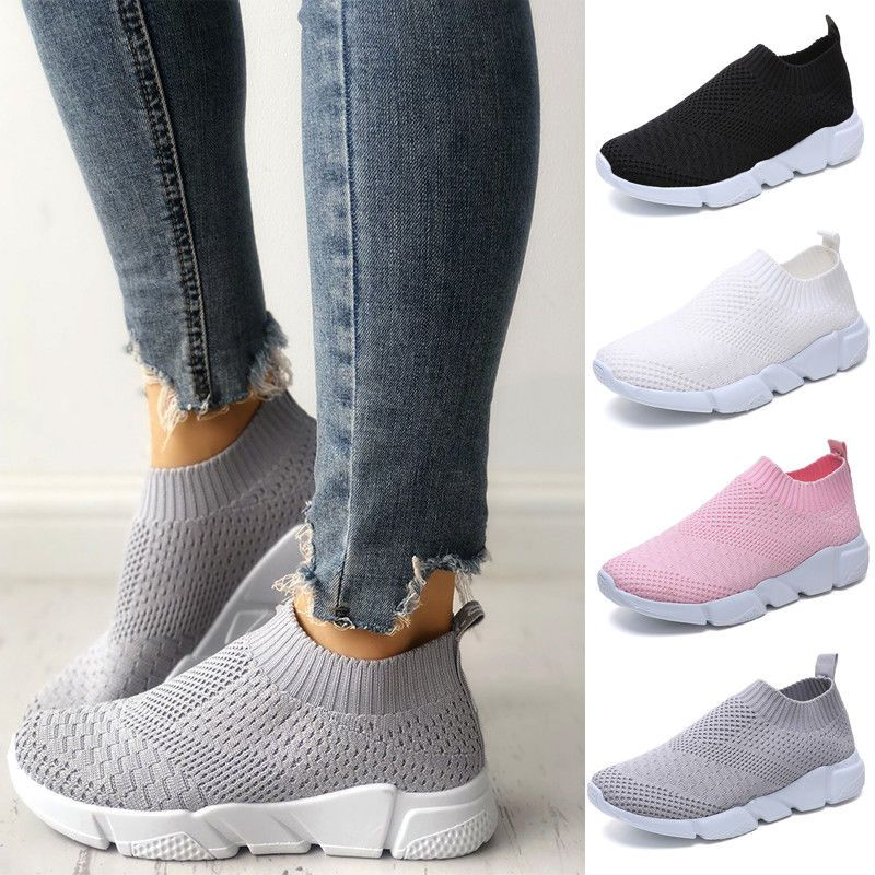 7eafcbc6204 Women Ladies Slip On Trainers Walk Go Sports Comfy Sock Sneakers Mesh Shoes  Size  fashion  clothing  shoes  accessories  womensshoes  athleticshoes  (ebay ...