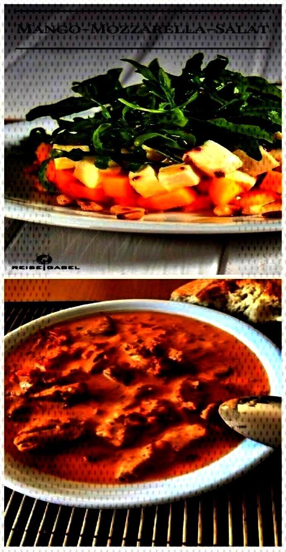 arugula and lemon vinegar - travel fork Mango mozzarella salad with arugula and lemon vinegar - tra