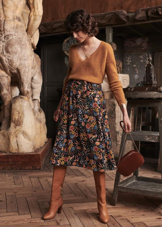 sweater + dark floral skirt + boots #70shair