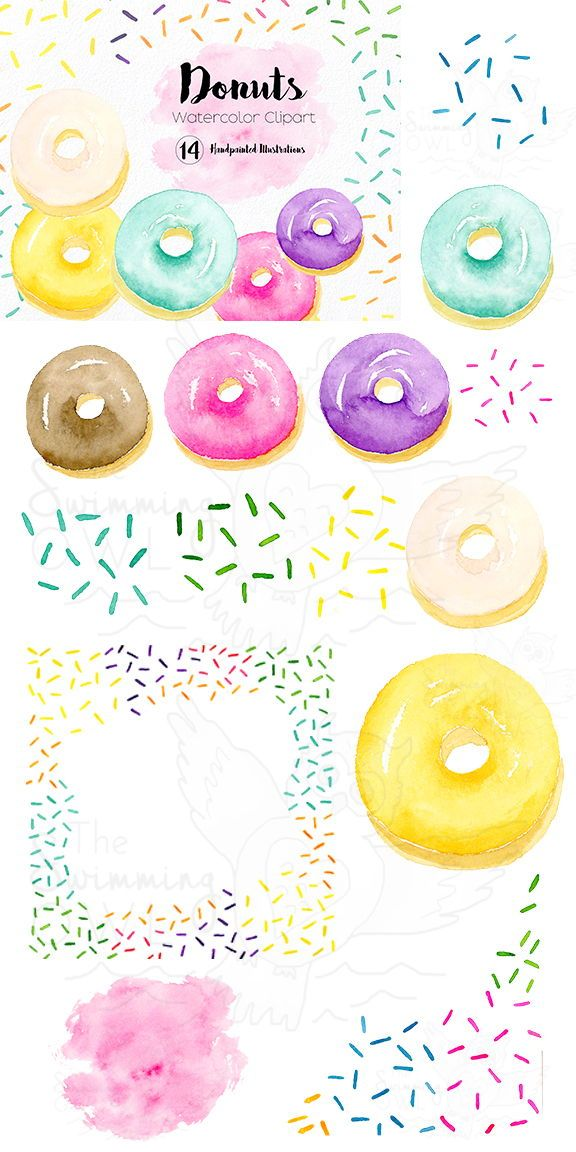 Donut Clipart - Watercolor Clipart - Food Clipart - Sweet ...