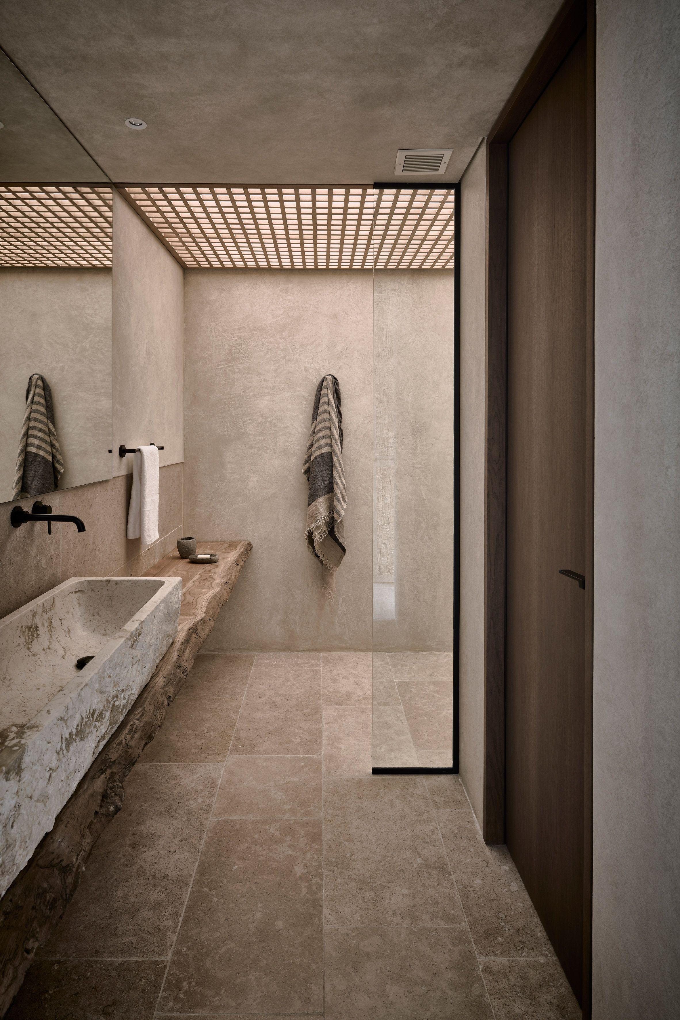 badkamer inspiratie luxe natuurlijke materialen griekenland olea hotel door block722 architects via dezeen