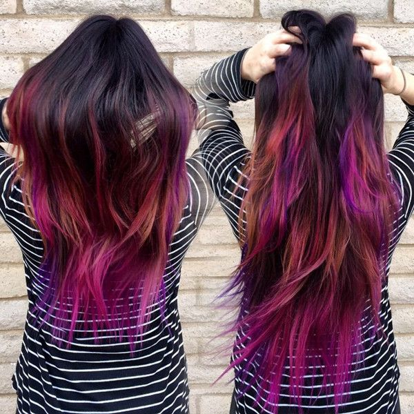 Multiple Colors Layered Dip Dye Hair Different Hair Colors Hair Styles