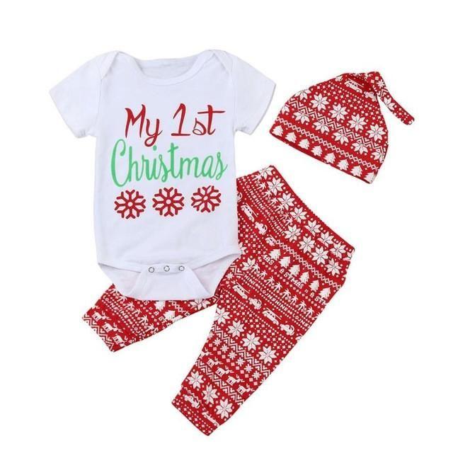 Xmas Style Unisex Baby Girl Long Sleeve Outfit Set