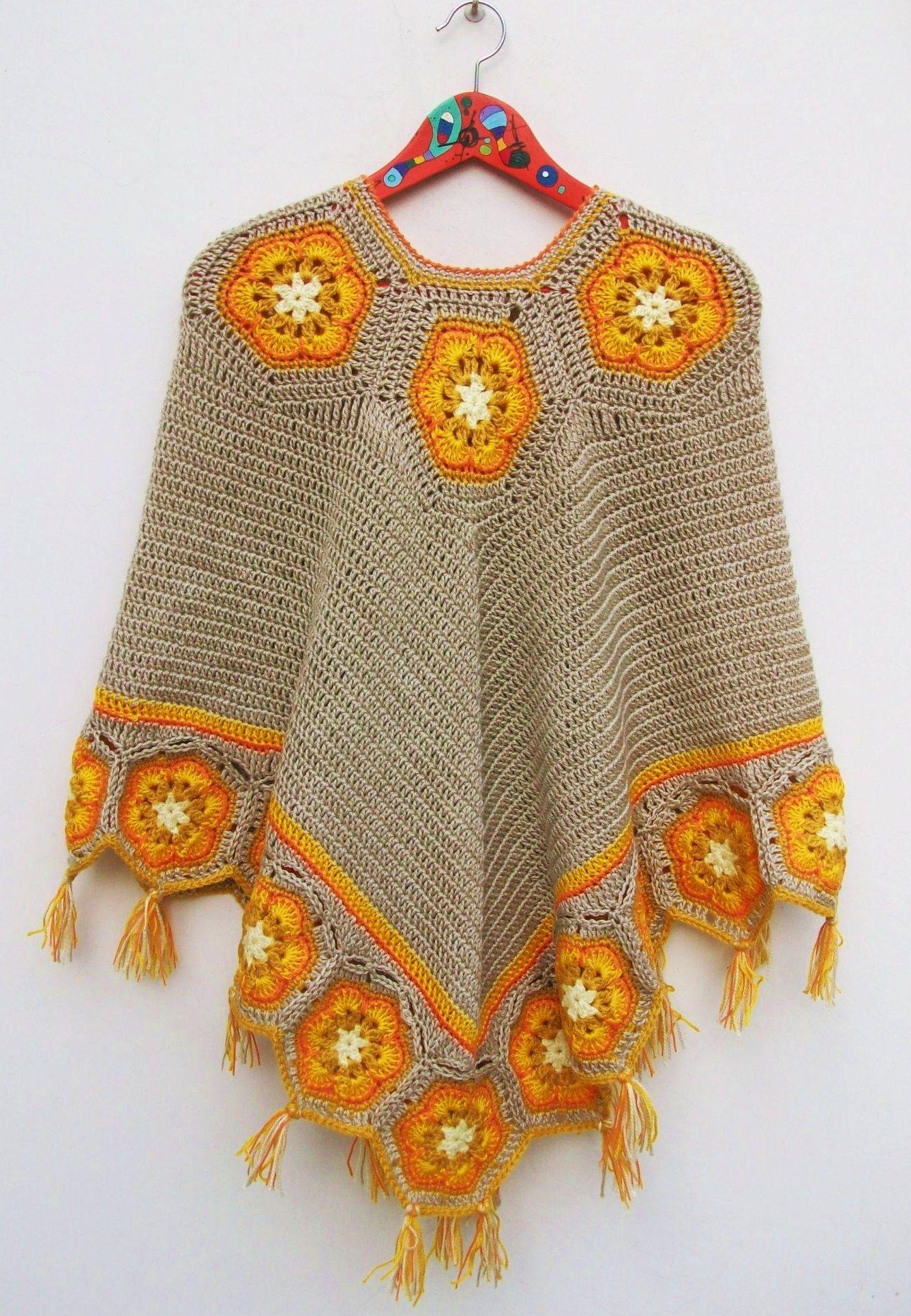 Poncho soles de la Puna - Crochet - Tejidos de Punto - 15324 ...