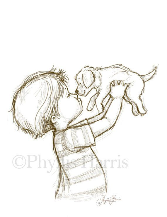 Sketch Illustration of a Puppy and Little Boy or Little Girl – You choose with boy or girl