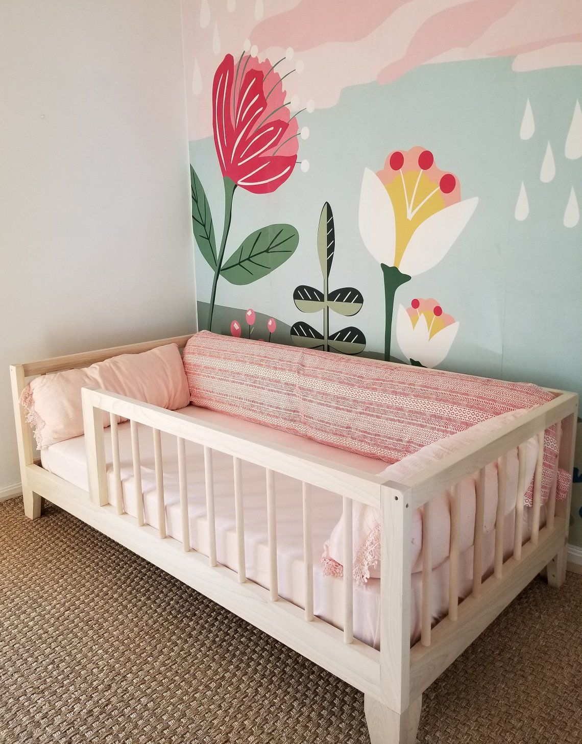 low priced 802bf 43800 Montessori Floor Bed to Raised Bed Convertible With Rails ...