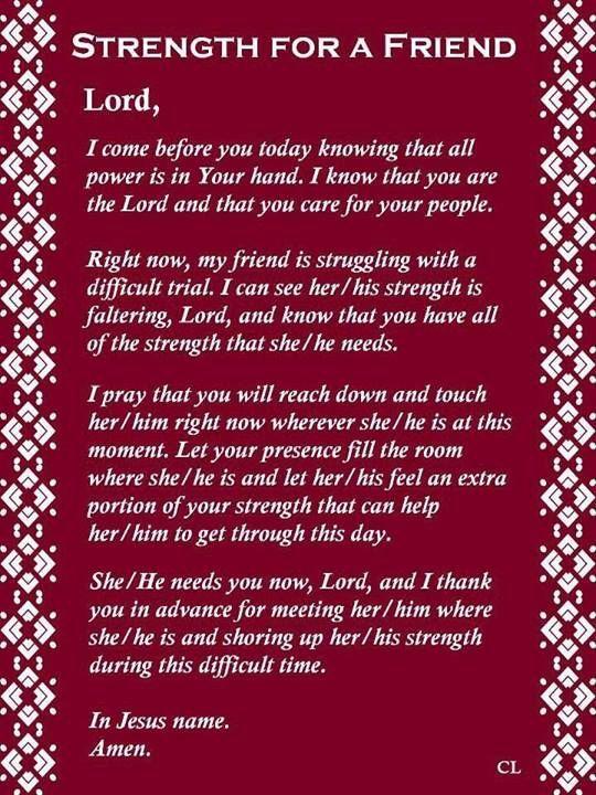 Strength For A Friend Prayer Quotes Prayers For Strength