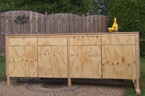 Meubel met werkblad voor in de garage zie eigen huis en for Eigen huis en tuin kast maken