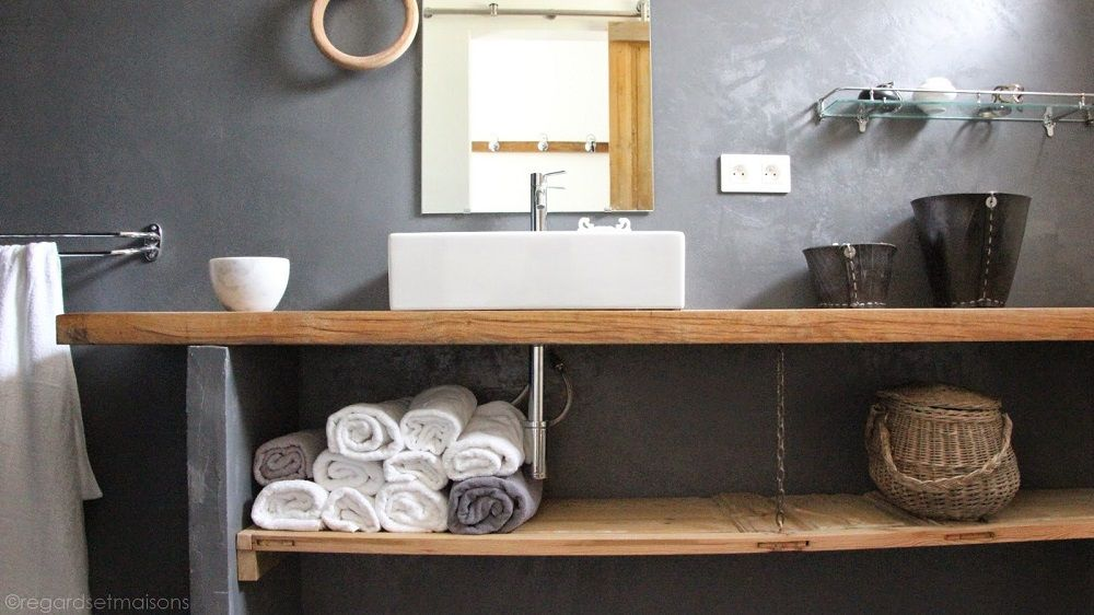 quel plan de travail choisir pour la salle de bains salle de bain bois salle de bains et plans. Black Bedroom Furniture Sets. Home Design Ideas