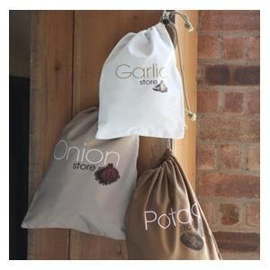 Breathable Cotton Vegetable Storage Bags Available In Potato And Onion Designs Featuring A Blackout