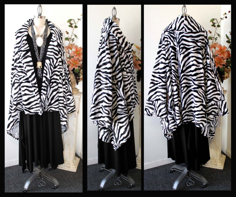 Zebra Print Asymmetrical Velboa (Velvet) Swing Warm Jacket Coat XL TO 4XL by Dare2bStylish on Etsy https://www.etsy.com/listing/111350003/zebra-print-asymmetrical-velboa-velvet