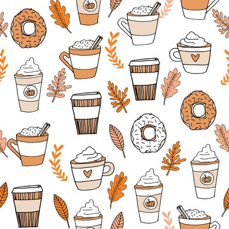 Fabric by the Yard pumpkin spice latte fabric coff