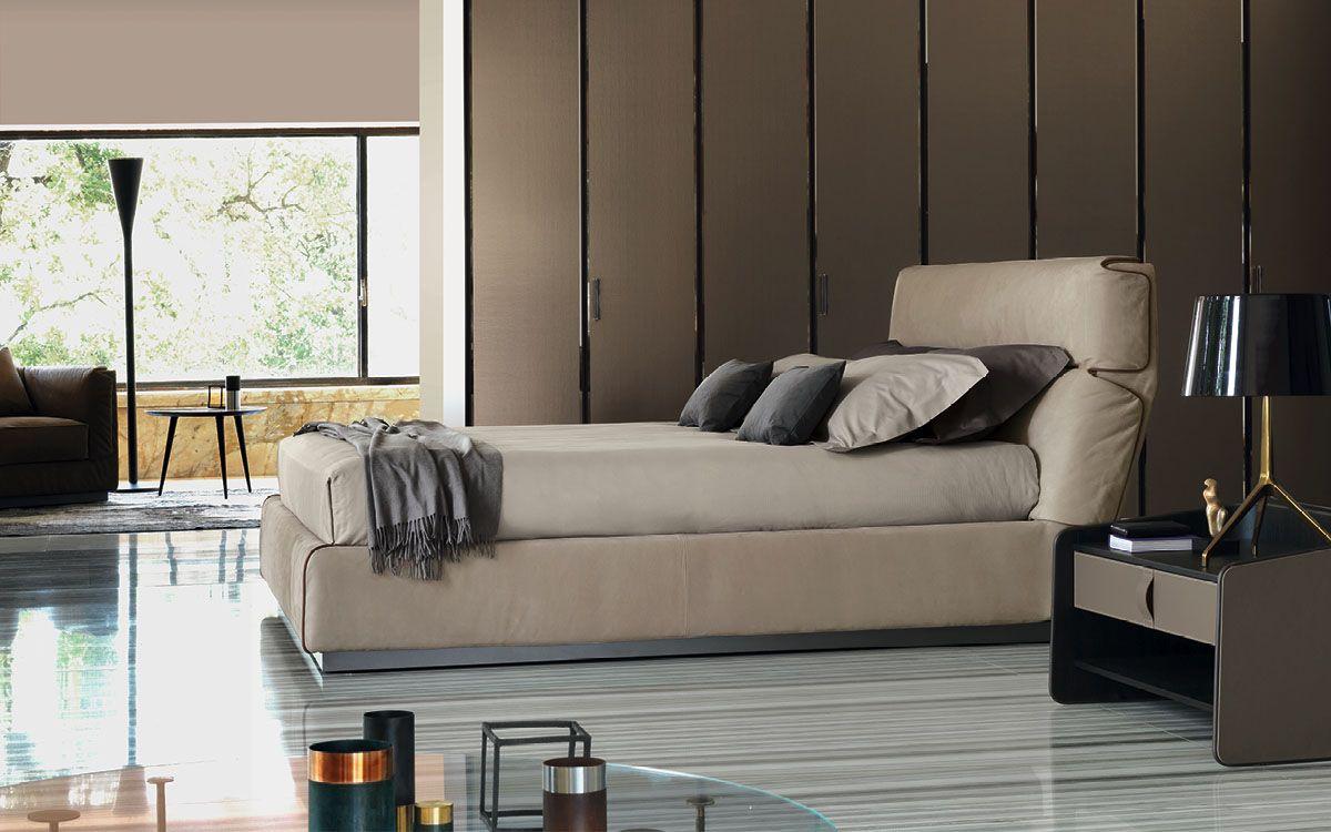 Double bed Gentleman High headboard Flou BEDROOM DESIGN