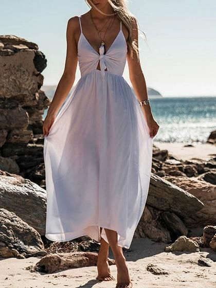 64eb0549287 White Spaghetti Strap Plunge Knot Front Ruched Detail Maxi Dress –  risechic.com