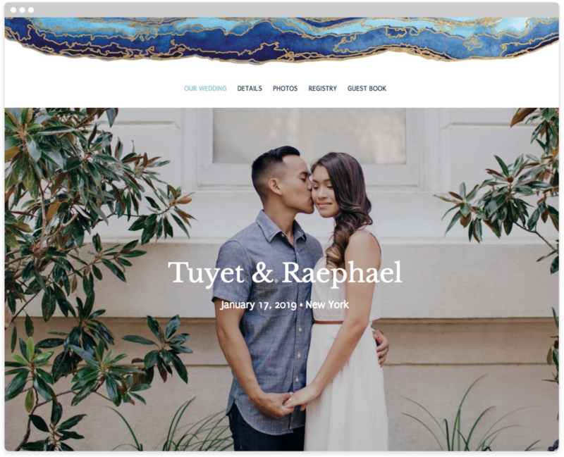 Gold Flourish Wedding Website Template, The Knot Wedding