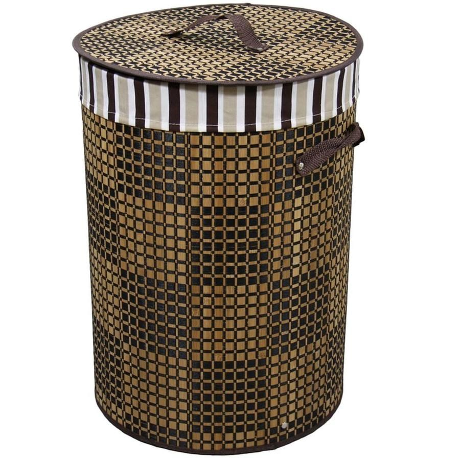 Ore International 19 5 In Tall Bamboo Round Laundry Basket Brown