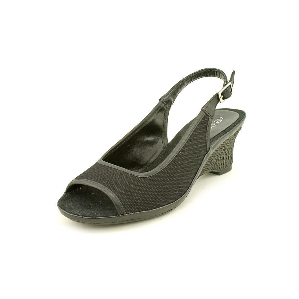 d90b7ce51d08 AEROSOLES NEW Dozen Roses Black Canvas Wedge Heels Shoes Size 12 W   Aerosoles  WedgeHeels
