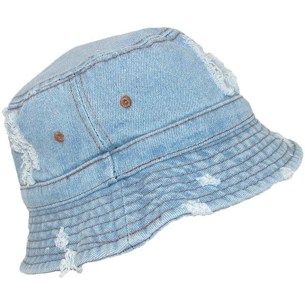 David   Young Denim Jean Distressed Sun Bucket Hat ( 12) ❤ liked on  Polyvore featuring accessories 45b726be5d5