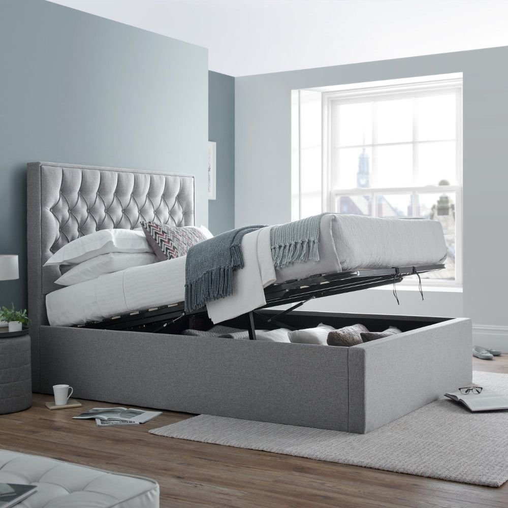 Fabulous Wilson Grey Fabric Ottoman Storage Bed In 2019 Dormitor Machost Co Dining Chair Design Ideas Machostcouk