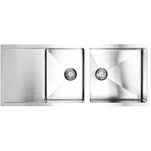 Fluid TDR5221 Arc Tight Radius Top Mount Kitchen Sink In Stainless Steel  With Drain Board