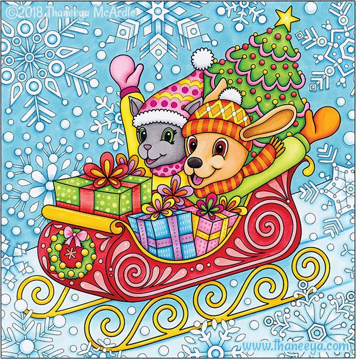 Sleigh Ride Coloring Page from Thaneeya McArdle's Holiday ...