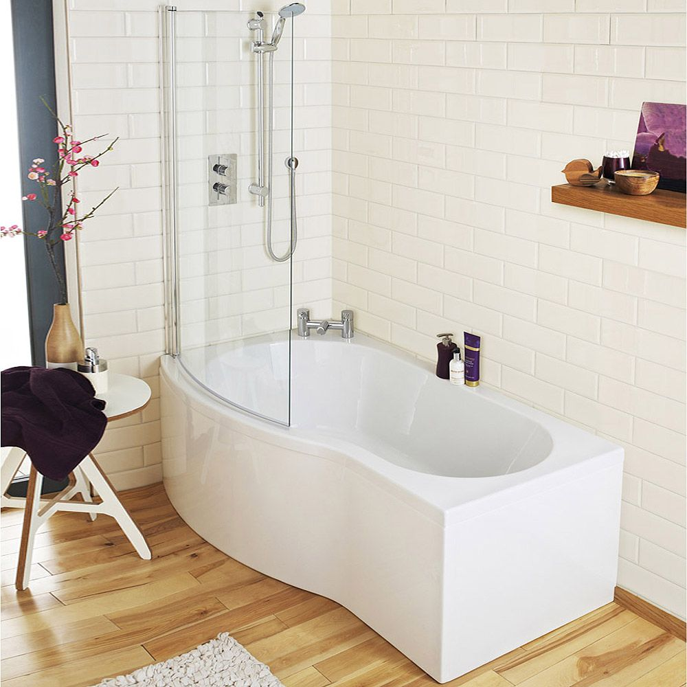 Premier Curved Shower Bath (1500mm with Screen + Acrylic Panel)