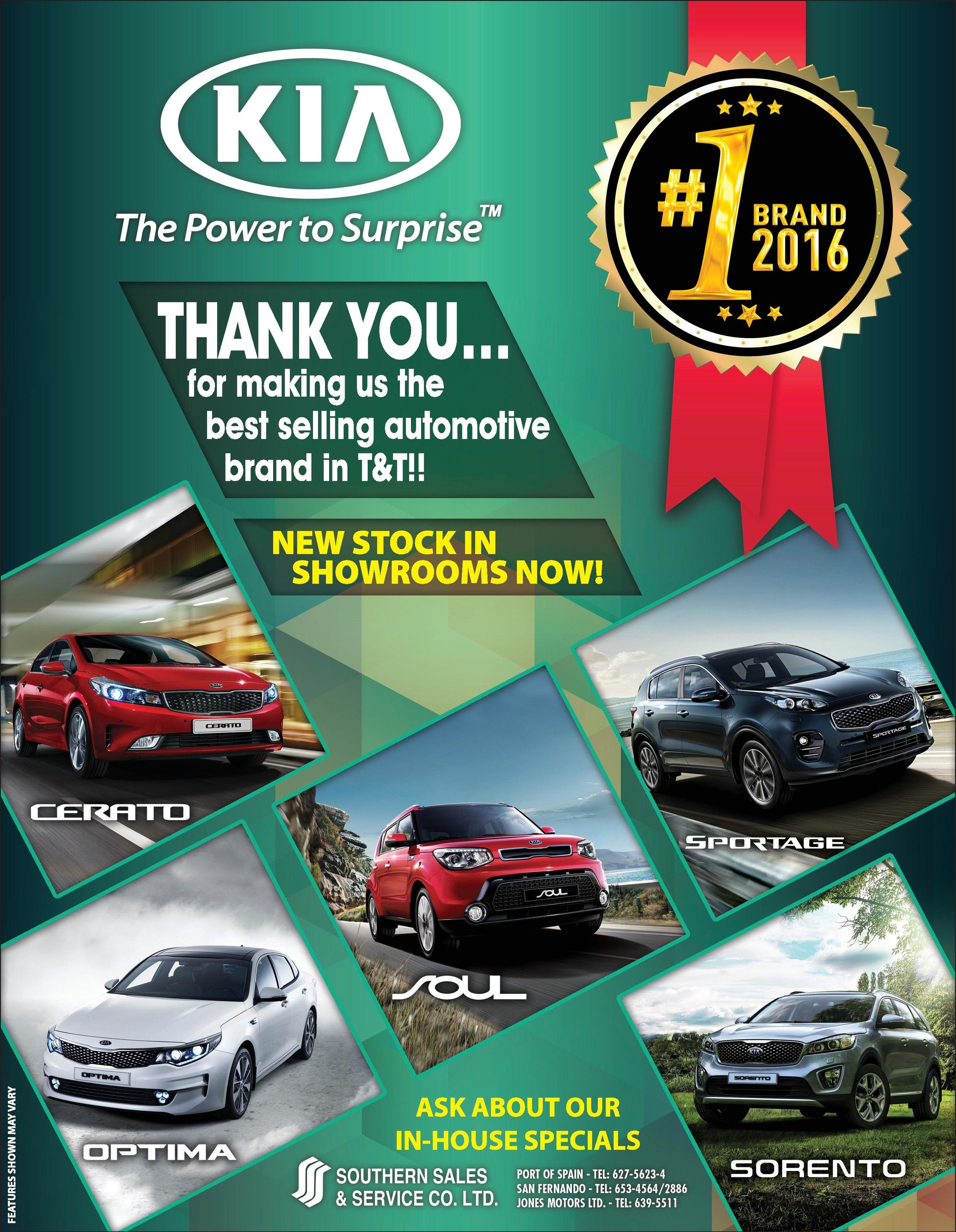 KIA is the number one selling brand for in Trinidad and Tobago