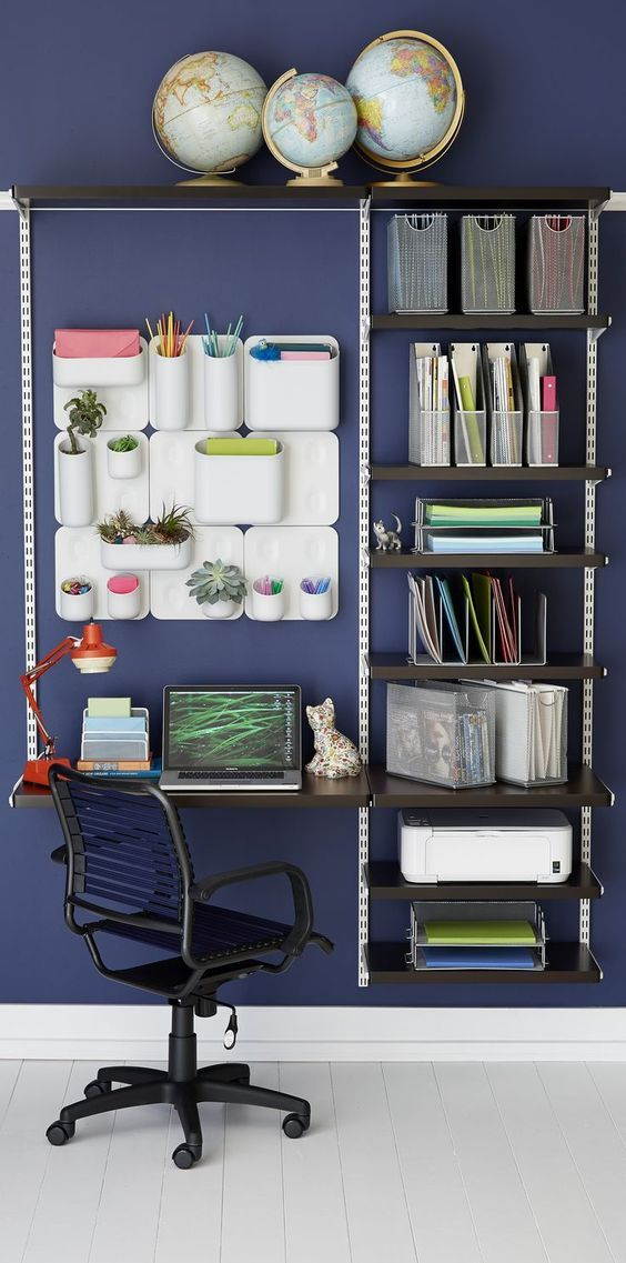 20 Modular Shelving And Desk Wall Mounted System Shelterness Home Office Storage Tiny Home Office Home Office Organization