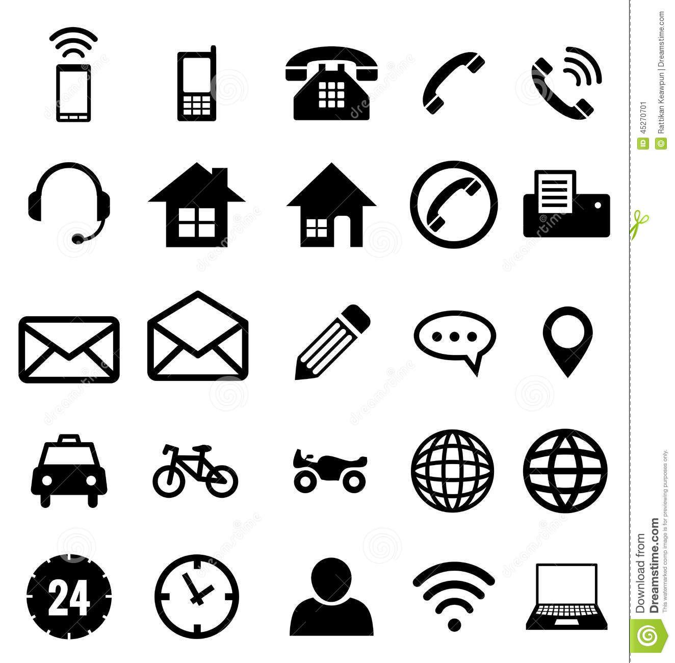 Contact Icon Collection For Business Stock Vector
