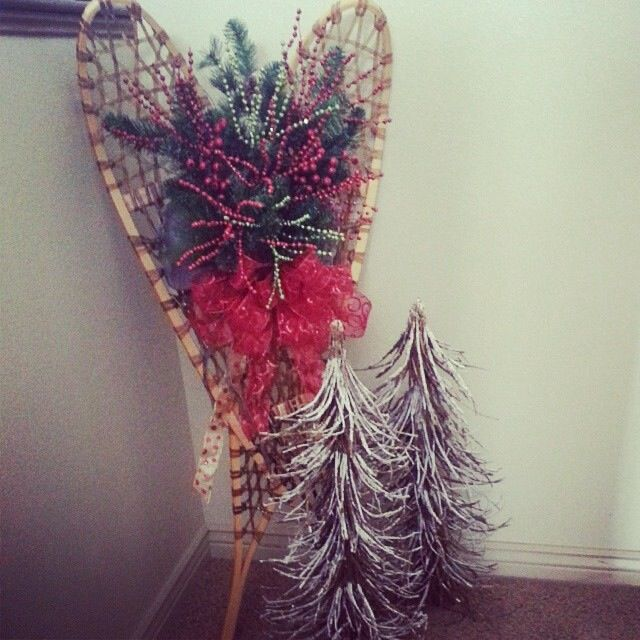 Vintage Snowshoes Decorated Up For Christmas.
