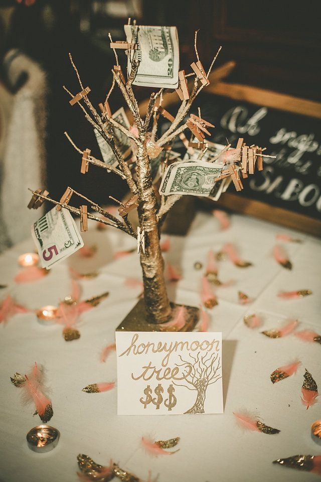 Money Plant Decoration In Living Room: Honeymoon Fund, Money Tree, Blush And Gold Wedding