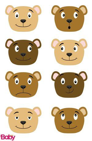 Teddy bear faces. Get the template at yourparenting.co.za | Teddy ...