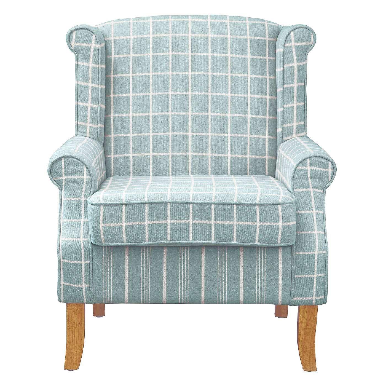 Duck Egg Check Edinburgh Wingback Chair Armchairs