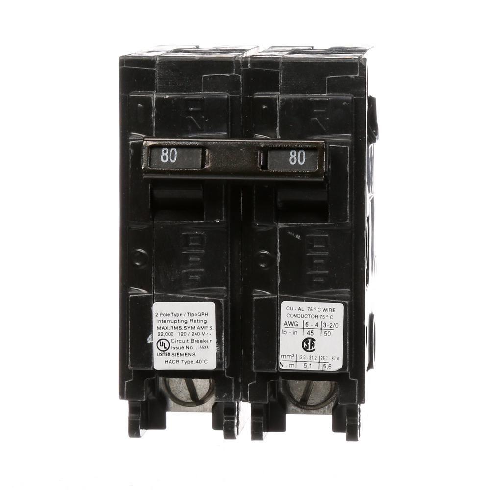 Siemens 80 Amp 2 Pole Qph 22 Ka Circuit Breaker Products Circuit House Wiring Amp