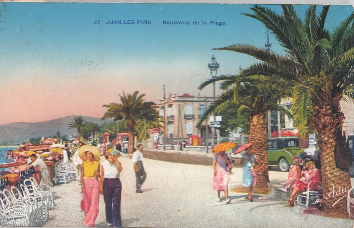 Old Postcard From Juan Les Pins Vintage Travel Posters Tender