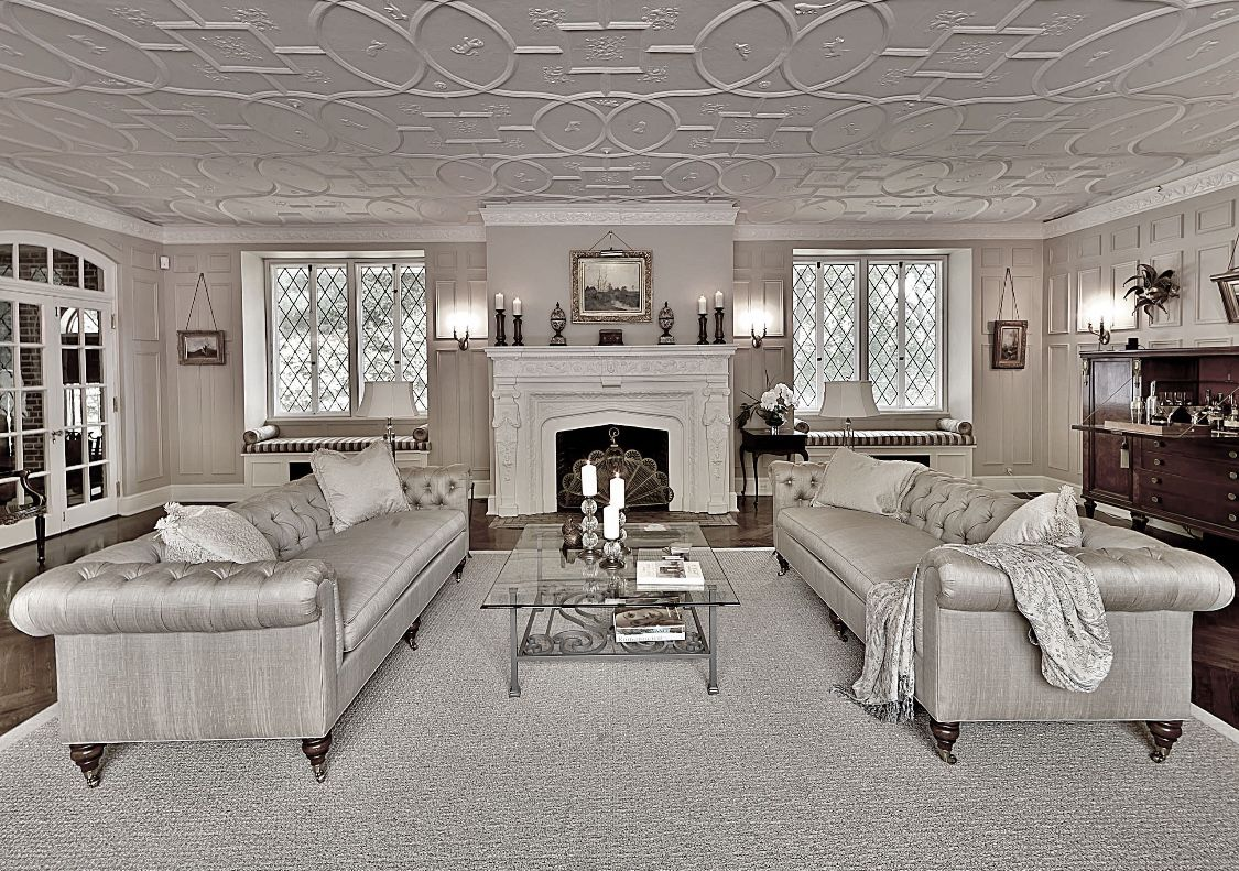Best Monochromatic Living Room With Grey Chesterfield Sofas 400 x 300