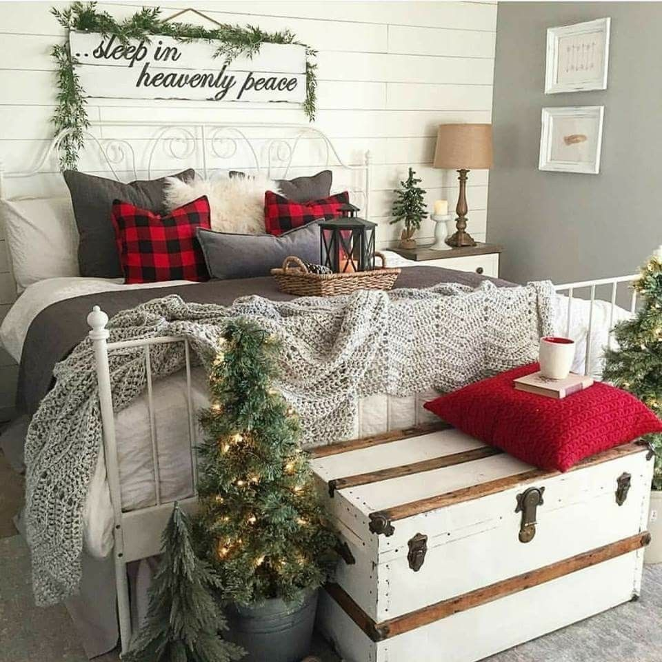 Especially Love The Sign Above The Bed Christmas Decorations Bedroom Christmas Room Farmhouse Christmas Decor