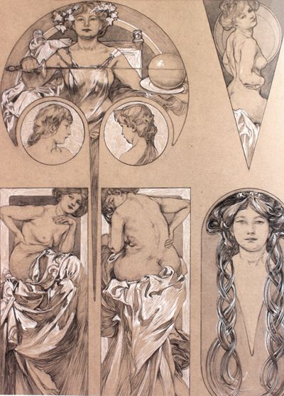 """Alphonse Mucha: drawings from the """"documents decoratifs"""""""