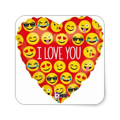 I Love You Emoji Heart Square Sticker Fun Gifts Funny Diy Customize Personal Cute Paragraphs For Her Emoji Love Cute Paragraphs