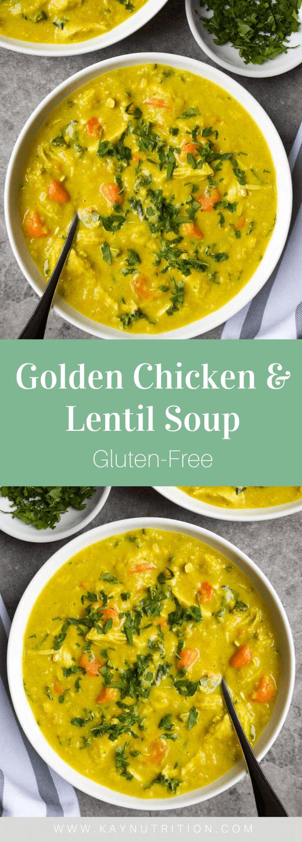 Golden Chicken Lentil Soup Recipe Chicken Lentil Soup Lentil Soup Healthy Chicken Lentil